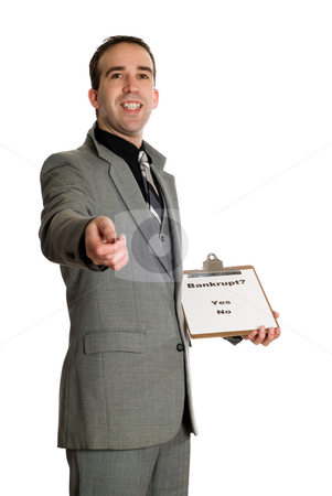 Bankruptcy Survey stock photo, A young man doing a survey on bankruptcy rates, isolated against a white background by Richard Nelson
