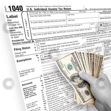 Tax Time stock photo, A tax time themed montage for US taxpayers with a hand full of money fanned out. by Todd Arena