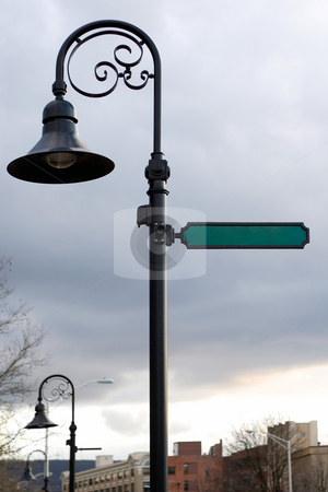 Blank Street Sign stock photo, A blank street sign and lamp post with copyspace ready for your text. by Todd Arena