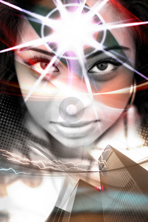 Woman of the City stock photo, An abstract montage of a beautiful  woman with a starburst coming from her forehead. by Todd Arena