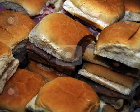 Mini Sadwiches stock photo, Overhead angle view of a platter of mini coldcut sandwiches. by W. Paul Thomas