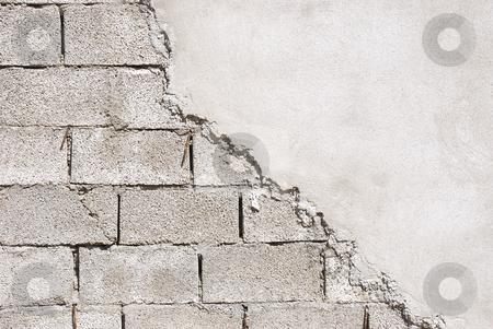Unfinished wall stock photo, Unfinished wall made of concrete blocks covered with mortar. by Ivan Paunovic