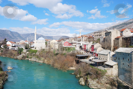 Mostar stock photo, Famous touristic place Mostar viewed from The Old Bridge. by Ivan Paunovic