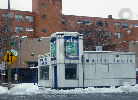 White Tower stock photo, White Tower, an old Landmark, was a Toledo Ohio Restaurant, no longer in business at this Downtown Location. I think this Building has since been moved or torn down (but not positive). Building in the background is the YMCA. by Dazz Lee Photography
