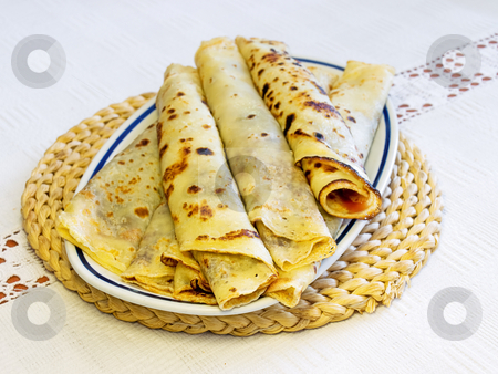 European pancakes stock photo, European pancakes with jam on a plate. by Sinisa Botas