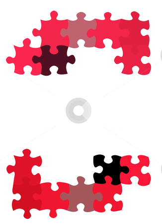 Puzzle pieces pattern stock photo, Texture of two groups of jigsaw pieces with empty space by Wino Evertz
