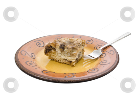 Cinnamon Streusel stock photo, Cinnamon Streusel on a white background with fork by John Teeter