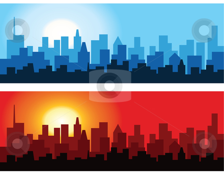 Cityscape at Dawn and Dusk stock vector clipart, Abstract vector illustration of the outlines of a city against the dawn and dusk sky. by Inge Schepers