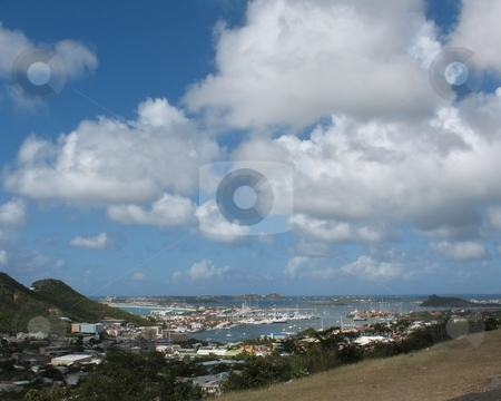A View of St. Maarten stock photo, A view of St. Maarten, from a hillside overlooking the city and the harbour. by Ray Carpenter