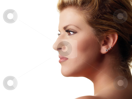 Profile portrait of plump pretty blond woman stock photo, Young plump pretty blond woman profile portrait by Jeff Cleveland