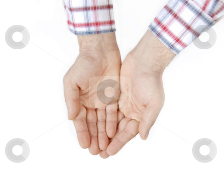 Two hands over white stock photo, Two man palms isolated over white background by Julija Sapic