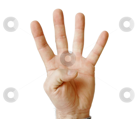 Four fingers stock photo, Human palm hand showing four fingers isolated on white by Julija Sapic