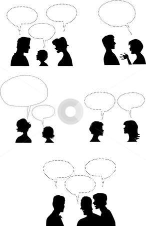 People talking2 stock vector clipart, Different groups of people talking by Vanda Grigorovic