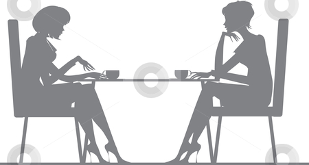 Two women stock vector clipart, Silhouette of two women talking at cafe by Vanda Grigorovic