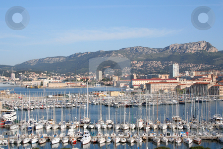 Toulon Marina view stock photo, Toulon marina and mountains behind by Helen Shorey