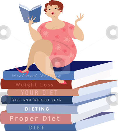 WOMAN READING ABOUT DIET stock vector clipart, A vector illustration of a overweight woman sitting on top of a pile of diet books. by Vanda Grigorovic