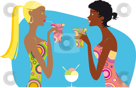 Girls driniking coctails stock vector clipart, Two girls in bright spotted dresses driniking coctails by Vanda Grigorovic