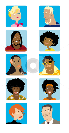 Face set1 stock vector clipart, A vector portraits of 5 men and 5 women of different nationalities by Vanda Grigorovic