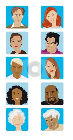 Face set4 stock vector clipart, Portraits of five men amd women by Vanda Grigorovic