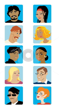 Face set5 stock vector clipart,  by Vanda Grigorovic