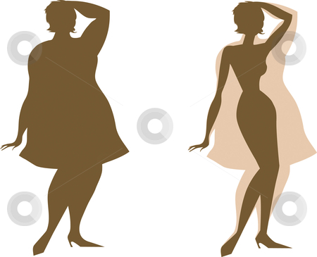 Changes before and after diet stock vector clipart, Changes in the shapes of lady before and after diet by Vanda Grigorovic