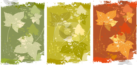Autumn leaves background stock vector clipart, Background with autumn leaves in three colors by Vanda Grigorovic