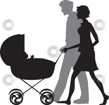Family  stock vector clipart, Silhouette of a family walking with a baby stroller by Vanda Grigorovic