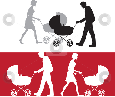 Silhouette of a family with a baby stroller stock vector clipart, Silhouette of a family with a baby stroller; silhouettes are on different layers by Vanda Grigorovic