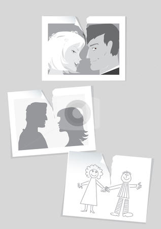 Divorce stock vector clipart, Illustration of teared photo and drawing of a married couple by Vanda Grigorovic