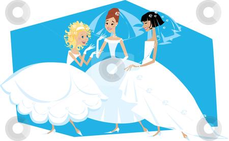 Three brides stock vector clipart, Cartoon of three brides talking by Vanda Grigorovic
