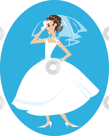 Disappointed bride stock vector clipart, Illustration of a disappointed bride by Vanda Grigorovic
