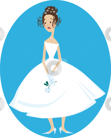 Unhappy bride stock vector clipart, Cartoon illustration of sad unhappy bride by Vanda Grigorovic