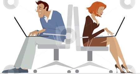 Man and woman working with laptop stock vector clipart, Cartoon of a man and a woman using laptops by Vanda Grigorovic