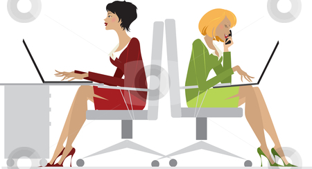 Office Women stock vector clipart, A vector illustration showing two office women sitting on a chair working on their laptops, isolated on a white background. by Vanda Grigorovic