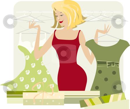 New wardrobe stock vector clipart, Lady bought a new wardrobe by Vanda Grigorovic