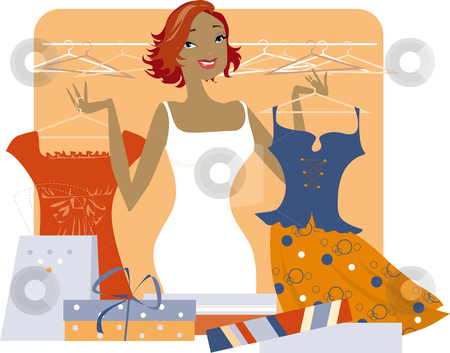Shopping woman stock vector clipart, An illustration of a woman shopping for new clothes. by Vanda Grigorovic