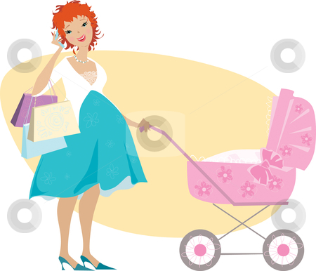 Shopping mother and baby carriage stock vector clipart, Illusration of a pregnant woman after shopping standing near baby carriage by Vanda Grigorovic