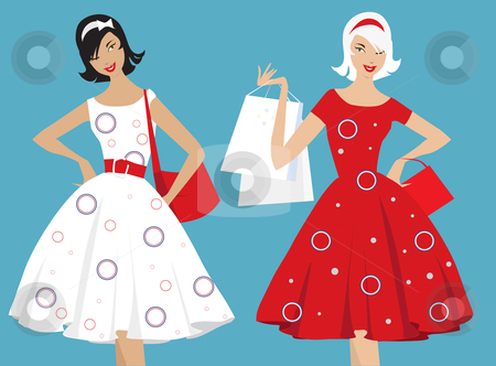 Retro girls shopping stock vector clipart, Vector illusatration of two retro style girls with shopping bags by Vanda Grigorovic