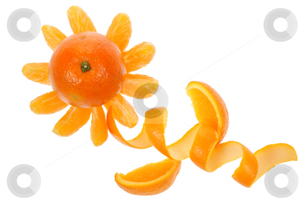 Orange stock photo, Orange in form of flower isolated on white background by Jolanta Dabrowska