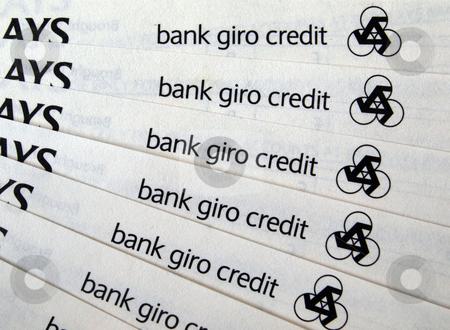 Bank giro credit slips stock photo, New bank giro paying in slips for paying into accounts. by Ian Langley