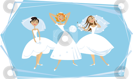 Happy brides stock vector clipart, Three young brides enjoying themselves by Vanda Grigorovic