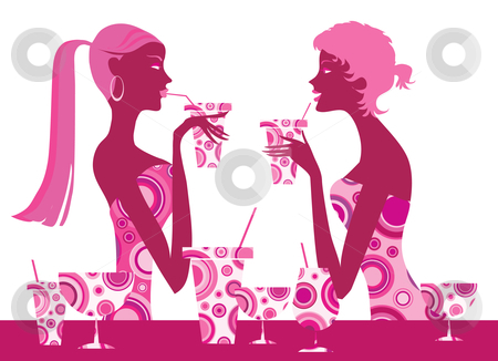 Cocktail bar stock vector clipart, Two cool girls enjoy cocktails by Vanda Grigorovic