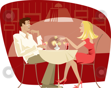 Couple in cafe stock vector clipart, Couple talking in the quiet  cafe by Vanda Grigorovic