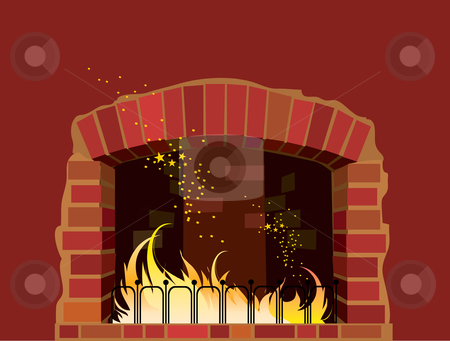Fireplace stock vector clipart, A fireplace of red bricks by Vanda Grigorovic
