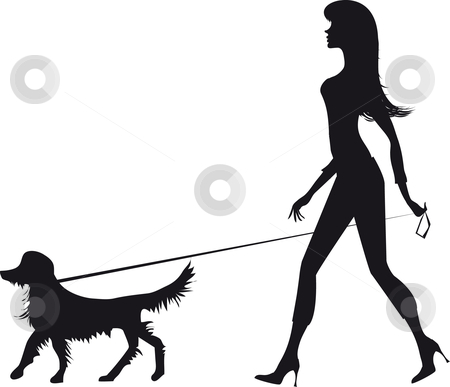 Silhouette of a girl and a dog stock vector clipart, Girl walking with a dog by Vanda Grigorovic