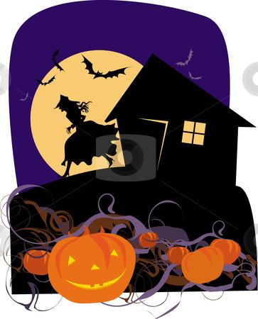 Halloween pumpkins stock vector clipart, Halloween witch's garden by Vanda Grigorovic