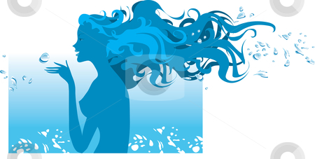 Spa water  stock vector clipart, Silhouette of a woman in spa water procedure by Vanda Grigorovic