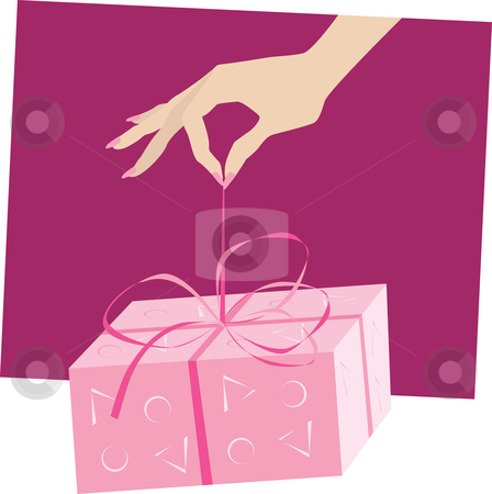 Gift stock vector clipart, Hand giving a gift by Vanda Grigorovic
