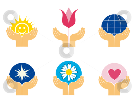 Symbols of hands holding different things stock vector clipart, Logo elements of hands holding different things for schools, clubs etc. by Vanda Grigorovic