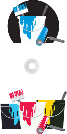 Painting bucket and tools stock vector clipart, Painting bucket and tools by Vanda Grigorovic